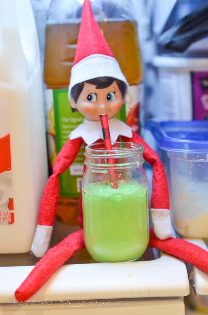 elf on the shelf drinking colored milk
