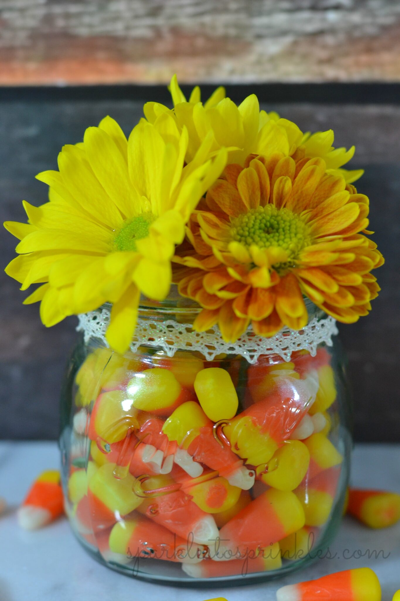 Candy corn halloween fall centerpiece sparkles to sprinkles