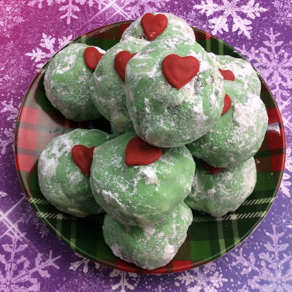 Grinch Snowball Cookies 1