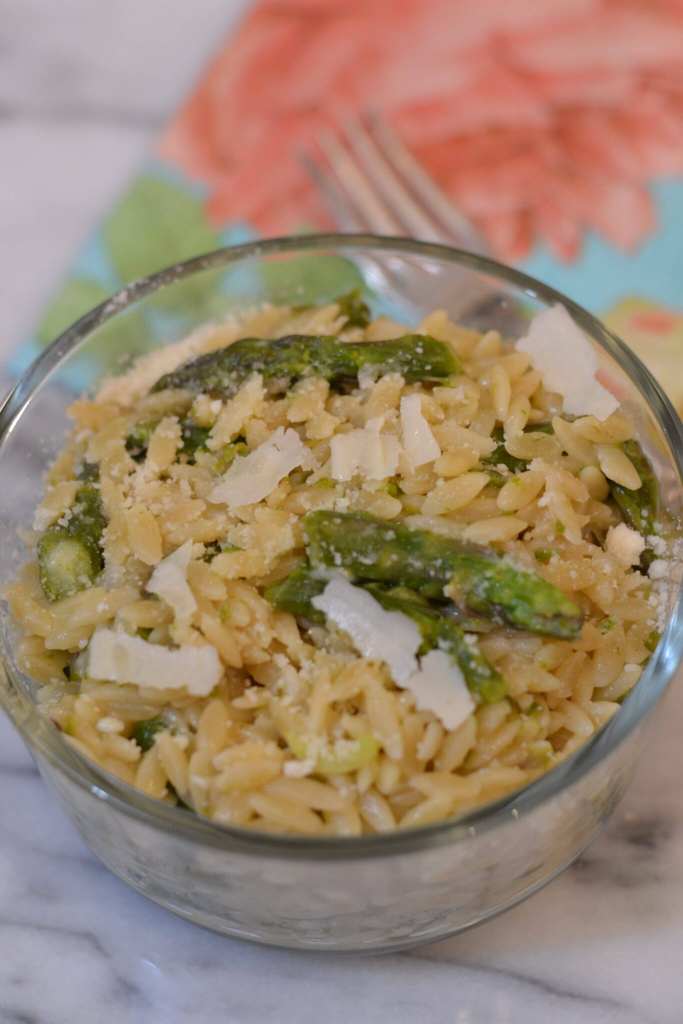 Instant Pot Garlic Parmesan Orzo With Asparagus