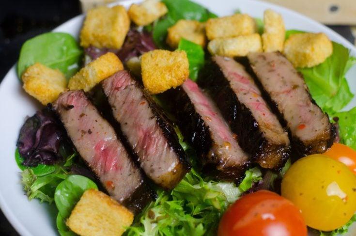 Steak Salad featuring the Worlds Best Steak Marinade!
