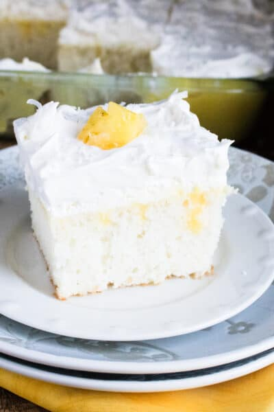 boozy pineapple pina colada poke cake