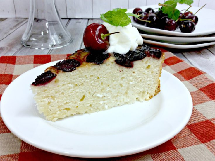 Cherry Upside Down Cake with Whipped Cream