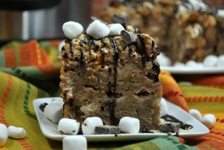 Instant Pot S'more Bread Pudding with a Crown Royal Chocolate Sauce