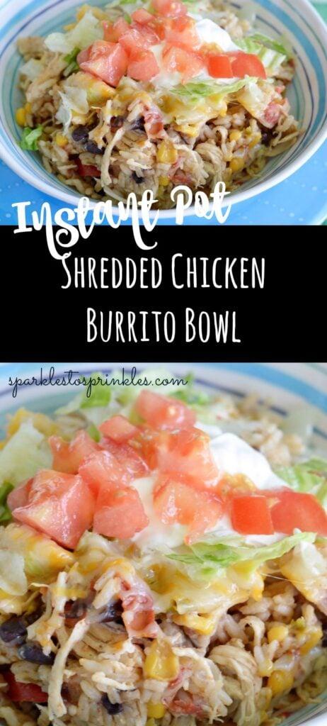 instant pot shredded chicken burrito bowl