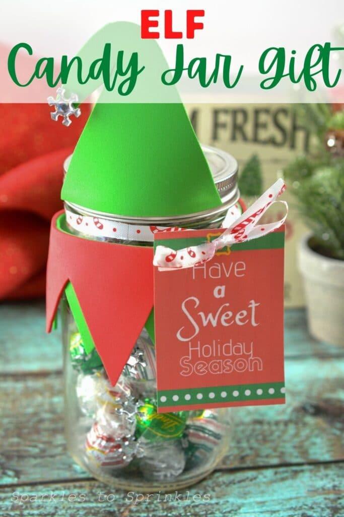 elf candy jar gift pin