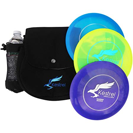 Kestrel Discs Golf Pro Set | 3 Disc Pro Pack Bundle and Small Bag | Disc Golf Set | Includes Distance Driver, Mid-Range and Putter | Small Disc Golf Bag