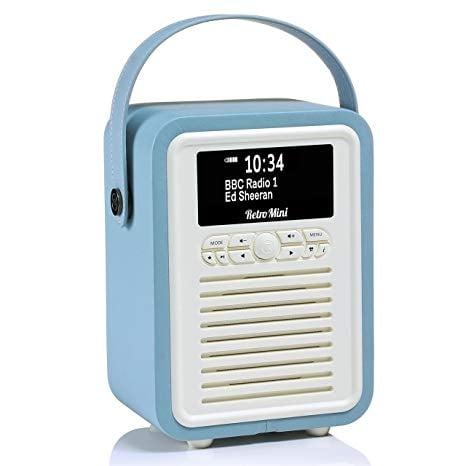 Retro Mini by VQ | Radio & Bluetooth Speaker with AM/FM & HD Radio, Dual Alarm Clock Mains or Battery – Premium PU Leather Case Blue