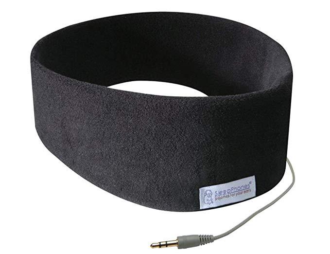 AcousticSheep SleepPhones Classic | Corded Headphones for Sleep, Travel, and More | The Original and Most Comfortable Headphones for Sleeping | Midnight Black - Fleece Fabric (Size M)