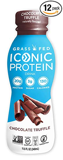 Iconic Protein Drinks, Chocolate Truffle (12 Pack) | Low Carb Protein Shakes | Grass Fed, Lactose Free, Gluten Free, Non-GMO, Kosher | High Protein Drink | Keto Friendly