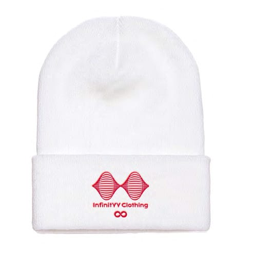 White W/ Red Embroidered Unisex Beanie