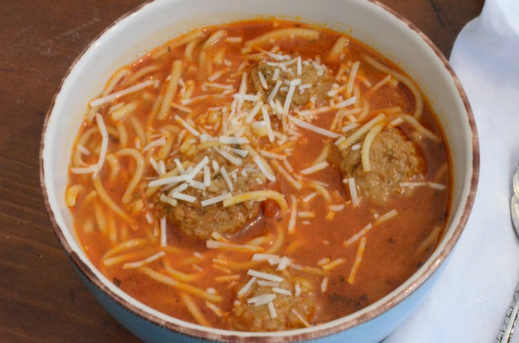 Instant Pot Spaghetti And Meatball Soup