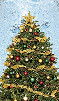"Window Poster Christmas Christmas Tree with Frosted Background by WOWindows USA-Made USA-Made Decoration Includes 1 Reusable 34.5""x60"" Backlit Plastic Poster"
