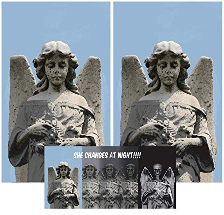"Window Poster Halloween Twin Angel to Demon Changing by WOWindows USA-Made Decoration Includes Includes 2 Reusable 34.5""x60"" Backlit Posters"