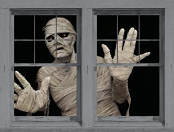 "Window Poster Halloween Menacing Mummy by WOWindows USA-made Decoration Includes 2 Reusable 34.5""x60"" Backlit Posters"