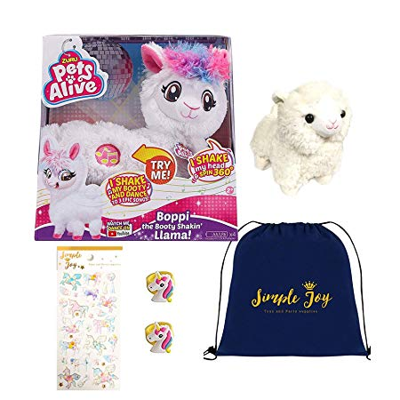 Simple Joy Toys Pets Alive Boppi The Booty Shakin Llama Dancing Toy Gift Set with 2 Unicorn Plush