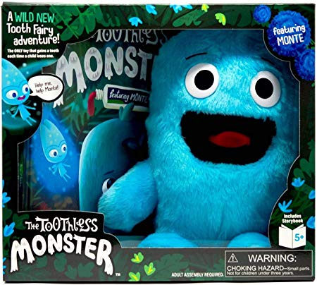 The Toothless Monster - The ONLY Toy That Magically Gains a Tooth with Each Tooth Fairy Visit - Boxed Set Includes Plush Monster, Hardcover Book, and Special Teeth for Monster - Monte (Blue) Version