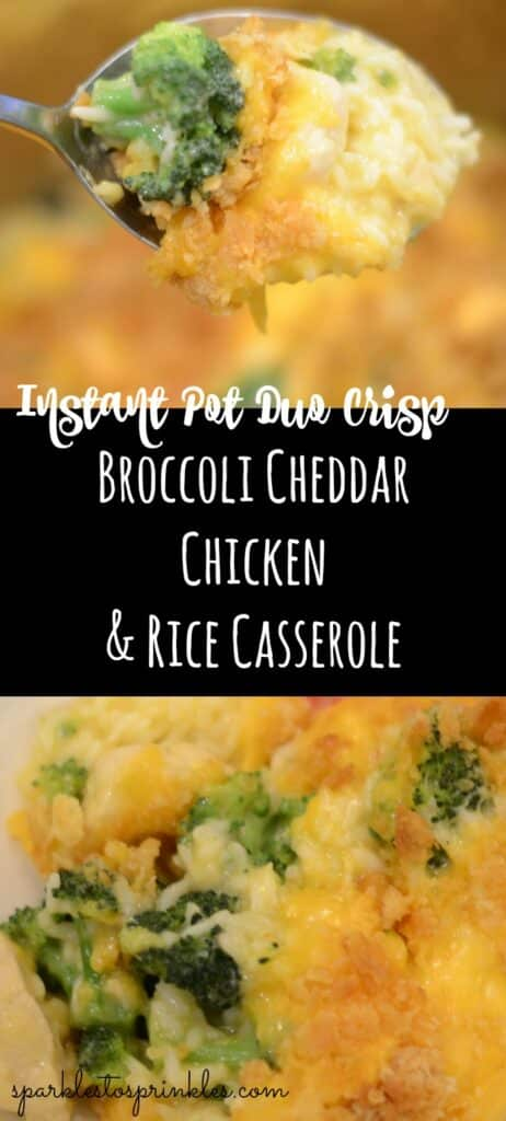 instant pot duo crisp broccoli cheddat chicken and rice casserole