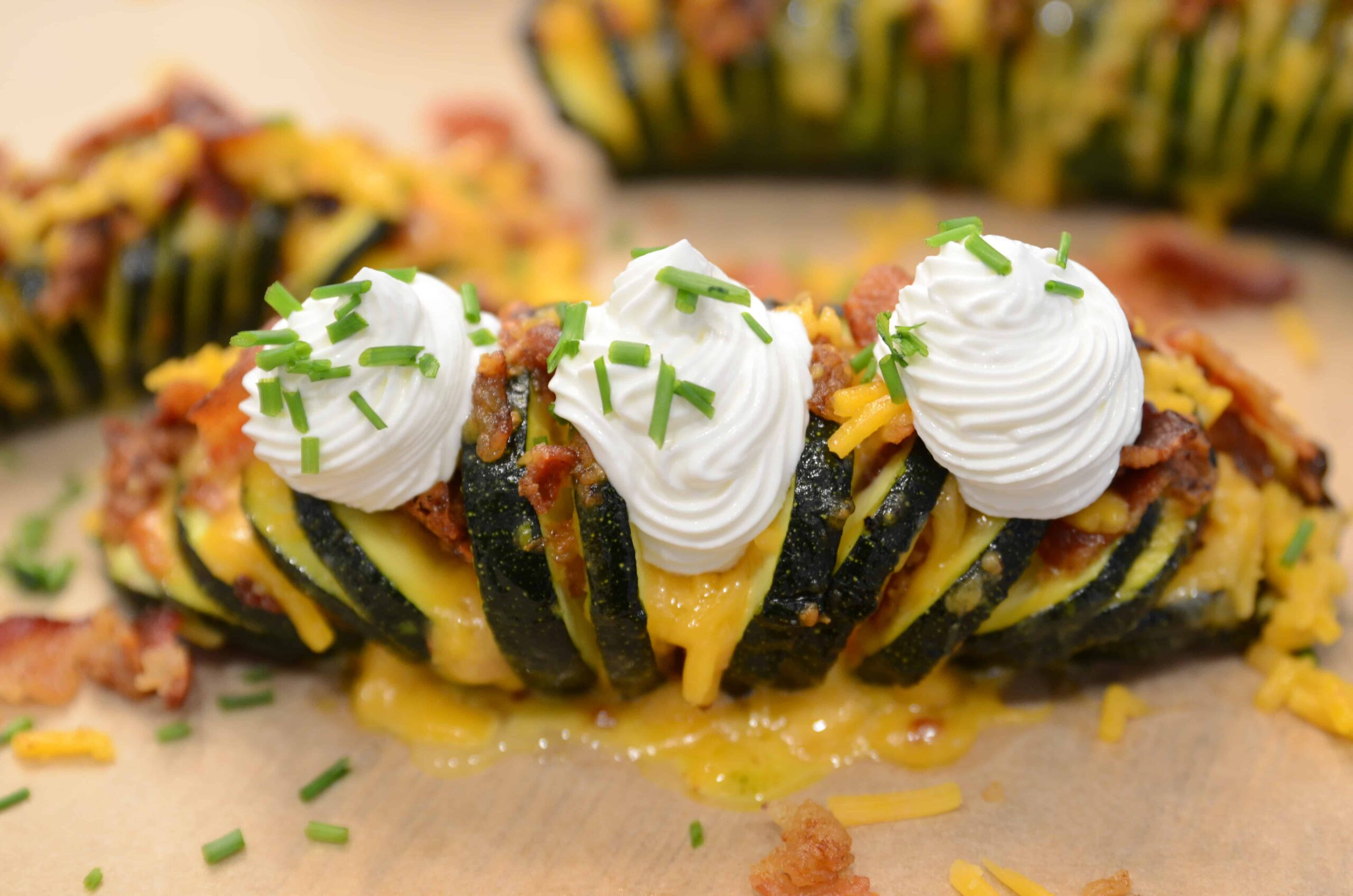 Air Fryer Keto Loaded Hasselback Zucchini
