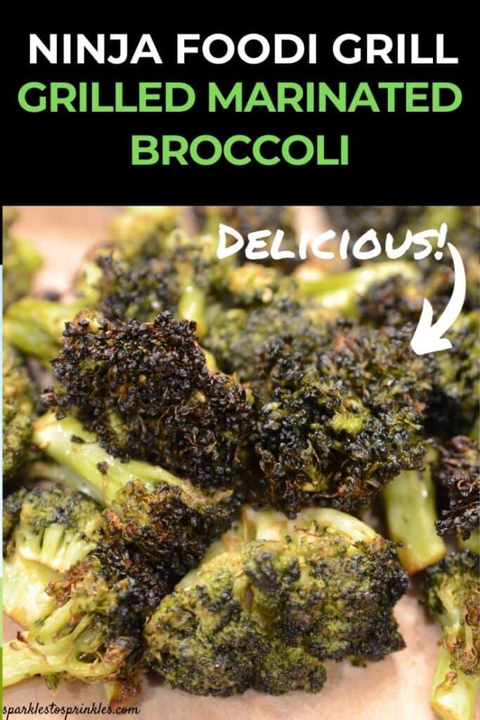 ninja foodi grill grilled marinated broccoli pin