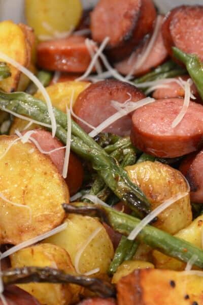 Air Fryer Sausage, green beans and potatoes