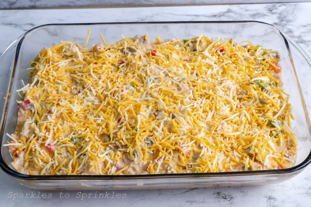 put in a baking dish and top with cheese