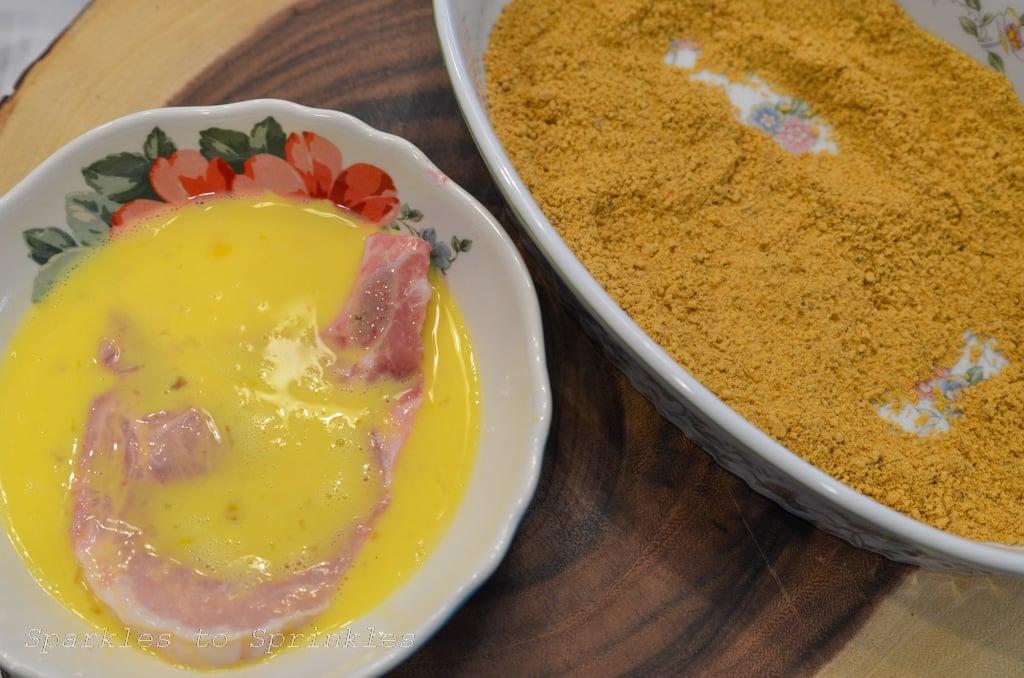 dip pork chops in egg mixture