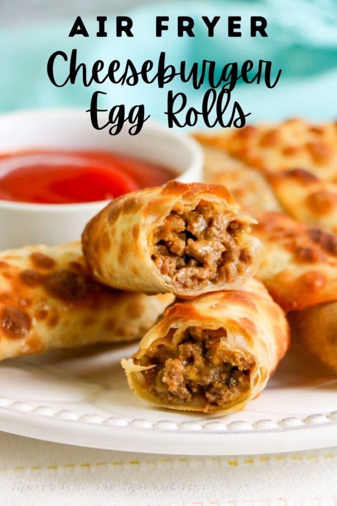 air fryer cheeseburger egg rolls