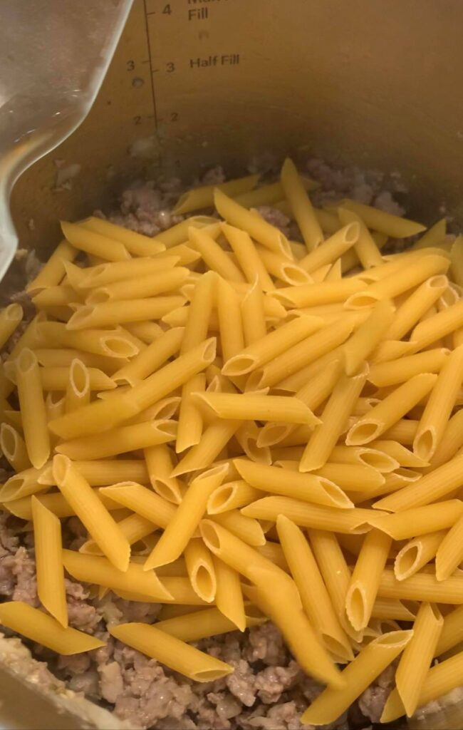 place pasta on top