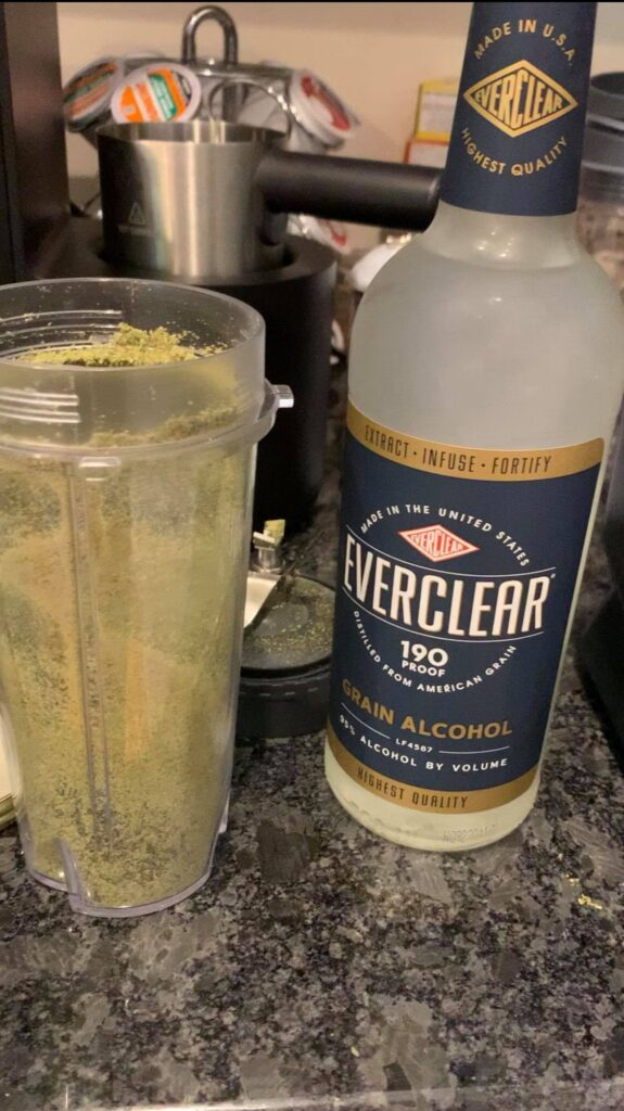 rinse your blender cup with everclear
