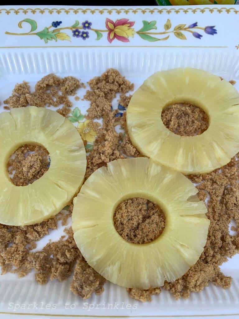 dip the pineapple in brown sugar